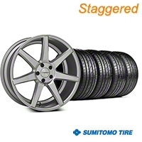 Staggered Silver Polished CV7 Wheel & Sumitomo Tire Kit - 19x8.5/10 (05-14 All) - Vossen KIT||102168||102169||63036||63037