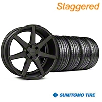 Staggered Matte Graphite CV7 Wheel & Sumitomo Tire Kit - 19x8.5/10 (05-14 All) - Vossen KIT||102176||102177||63036||63037