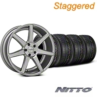 Staggered Silver Polished CV7 Wheel & NITTO INVO Tire Kit - 19x8.5/10 (05-14 All) - Vossen KIT||102168||102169||79520||79521