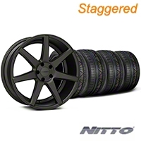 Staggered Matte Graphite CV7 Wheel & NITTO INVO Tire Kit - 19x8.5/10 (05-14 All) - Vossen KIT||102176||102177||79521||79522