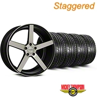 Staggered Matte Black Machined CV3 Wheel & Mickey Thompson Tire Kit - 19x8.5/10 (05-14 All) - Vossen KIT||102156||102157||79539||79540
