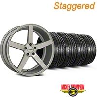 Staggered Matte Staggered Silver Machined CV3 Wheel & Mickey Thompson Tire Kit - 19x8.5/10 (05-14 All) - Vossen KIT||102160||102161||79539||79540