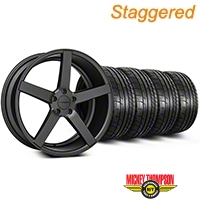Staggered Matte Matte Graphite CV3 Wheel & Mickey Thompson Tire Kit - 19x8.5/10 (05-14 All) - Vossen KIT||102164||102165||79539||79540