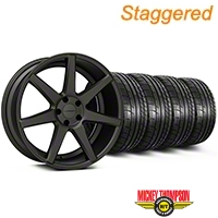 Staggered Matte Graphite Machined CV7 Wheel & Mickey Thompson Tire Kit - 19x8.5/10 (05-14 All) - Vossen KIT||102172||102173||79539||79540