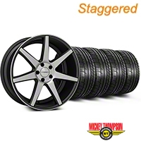 Staggered Matte Graphite CV7 Wheel & Mickey Thompson Tire Kit - 19x8.5/10 (05-14 All) - Vossen KIT||102176||102177||79539||79540