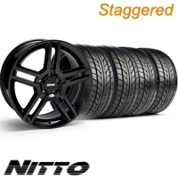 Staggered Black GT500 Wheel & NITTO Tire Kit - 18x9/10 (10-12)