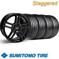 Staggered Black GT500 Wheel & Sumitomo Tire Kit - 19x8.5/10 (10-12)