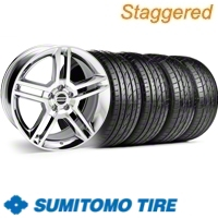 Staggered Chrome GT500 Wheel & Sumitomo Tire Kit - 19x8.5/10 (10-12)