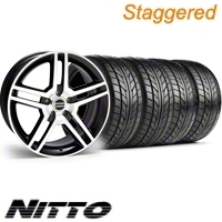 Staggered Black Machined GT500 Wheel & NITTO Tire Kit - 18x9/10 (10-12)