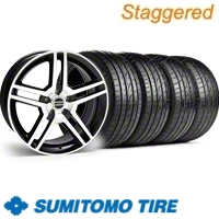 Staggered Black Machined GT500 Wheel & Sumitomo Tire Kit - 19x8.5/10 (10-12)