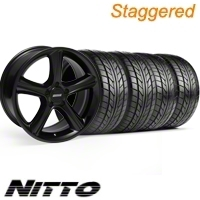 Staggered Black GT Premium Wheel & NITTO Tire Kit - 18x9/10 (10-12)