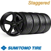 Staggered Black GT Premium Wheel & Sumitomo Tire Kit - 19x8.5/10 (10-12)