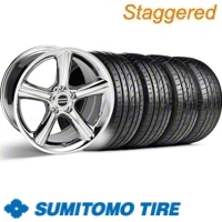 Staggered Chrome GT Premium Wheel & Sumitomo Tire Kit - 19x8.5/10 (10-12)