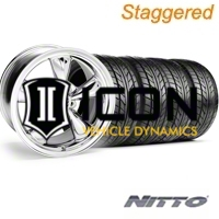 Staggered Chrome Bullitt Wheel & NITTO Tire Kit - 18x9/10 (05-14) - AmericanMuscle Wheels KIT||28265G05||28268||63008||63009