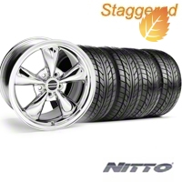 Staggered Bullitt Chrome Wheel & NITTO Tire Kit - 18x9/10 (05-14) - American Muscle Wheels 28265G05||28268||63008||63009||KIT