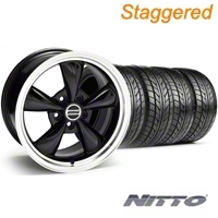 Staggered Bullitt Black Wheel & NITTO Tire Kit - 18x9/10 (05-14) - American Muscle Wheels 28264||28267||63008||63009||KIT