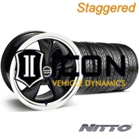 Staggered Black Bullitt Wheel & NITTO Tire Kit - 18x9/10 (05-14) - AmericanMuscle Wheels KIT||28264||28267||63008||63009