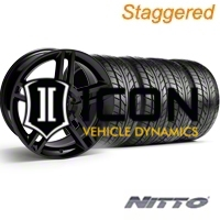 Staggered Black GT500 Wheel & NITTO Tire Kit - 18x9/10 (05-14) - AmericanMuscle Wheels 28219G05||28225||63008||63009