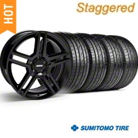 Staggered Black GT500 Wheel & Sumitomo Tire Kit - 19x8.5/10 (05-14) - AmericanMuscle Wheels KIT||28236||28239||63036||63037