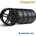 Staggered 2010 GT500 Style Black Wheel & Sumitomo Tire Kit - 19x8.5/10 (05-14) - American Muscle Wheels 28236||28239||63036||63037||KIT