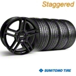 Staggered 2010 GT500 Black Wheel & Sumitomo Tire Kit - 19x8.5/10 (05-14) - American Muscle Wheels KIT