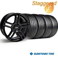 Staggered 2010 GT500 Black Wheel & Sumitomo Tire Kit - 19x8.5/10 (05-14) - American Muscle Wheels 28236||28239||63036||63037||KIT