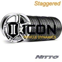 Staggered Chrome GT500 Wheel & NITTO Tire Kit - 18x9/10 (05-14) - AmericanMuscle Wheels KIT||28220||28226||63008||63009