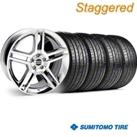 Staggered 2010 GT500 Chrome Wheel & Sumitomo Tire Kit - 19x8.5/10 (05-14) - American Muscle Wheels 28237||28240||63036||63037||KIT
