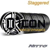 Staggered Black Machined GT500 Wheel & NITTO Tire Kit - 18x9/10 (05-14) - AmericanMuscle Wheels KIT||28221||28227||63008||63009