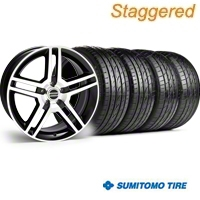 Staggered 2010 GT500 Black Machined Wheel & Sumitomo Tire Kit - 19x8.5/10 (05-14) - American Muscle Wheels 28238||28241||63036||63037||KIT