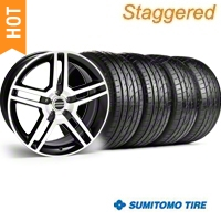 Staggered Black Machined GT500 Wheel & Sumitomo Tire Kit - 19x8.5/10 (05-14) - AmericanMuscle Wheels KIT||28238||28241||63036||63037