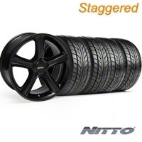 Staggered Black GT Premium Wheel & NITTO Tire Kit - 18x9/10 (05-14) - AmericanMuscle Wheels KIT||28210||28216||63008||63009