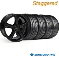 Staggered GT Premium Black Wheel & Sumitomo Tire Kit - 19x8.5/10 (05-14) - American Muscle Wheels 28230||28233||63036||63037||KIT
