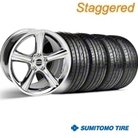 Staggered GT Premium Style Chrome Wheel & Sumitomo Tire Kit - 19x8.5/10 (05-14) - American Muscle Wheels 28231||28234||63036||63037||KIT