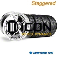 Staggered Chrome Bullitt Wheel & Sumitomo Tire Kit - 17x9/10.5 (99-04) - AmericanMuscle Wheels KIT||28262||28115||63000||63003