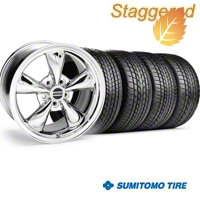 Staggered Bullitt Chrome Wheel & Sumitomo Tire Kit - 17x9/10.5 (99-04) - American Muscle Wheels 28115||28262||63000||63003||KIT