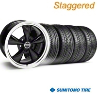 Staggered Bullitt Black Wheel & Sumitomo Tire Kit - 17x9/10.5 (99-04) - American Muscle Wheels KIT