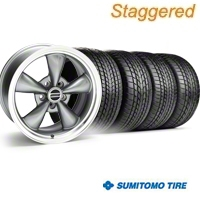 Staggered Bullitt Anthracite Wheel & Sumitomo Tire Kit - 17x9/10.5 (99-04) - American Muscle Wheels KIT
