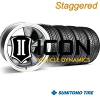 Staggered Anthracite Bullitt Wheel & Sumitomo Tire Kit - 17x9/10.5 (99-04) - AmericanMuscle Wheels KIT||28260||28111||63000||63003