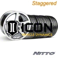 Staggered Chrome Saleen Style Wheel & NITTO Tire Kit - 18x9/10 (99-04) - AmericanMuscle Wheels KIT||28251||28067||76013||76003