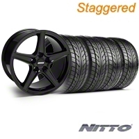 Staggered Saleen Black Wheel & NITTO Tire Kit - 18x9/10 (99-04) - American Muscle Wheels KIT