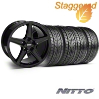 Staggered Saleen Black Wheel & NITTO Tire Kit - 18x9/10 (99-04) - American Muscle Wheels 28075||28252||76003||76013||KIT