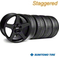 Staggered 2003 Cobra Black Wheel & Sumitomo Tire Kit - 17x9/10.5 (99-04) - American Muscle Wheels KIT