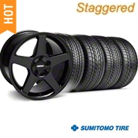 Staggered Black 2003 Cobra Wheel & Sumitomo Tire Kit - 17x9/10.5 (99-04) - AmericanMuscle Wheels KIT||28076||28077||63000||63003