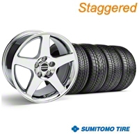 Staggered 2003 Cobra Chrome Wheel & Sumitomo Tire Kit - 17x9/10.5 (99-04) - American Muscle Wheels KIT