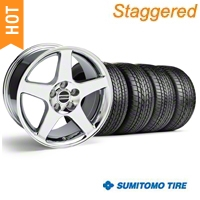 Staggered Chrome 2003 Cobra Wheel & Sumitomo Tire Kit - 17x9/10.5 (99-04) - AmericanMuscle Wheels KIT||28004||28119||63000||63003