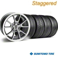 Staggered FR500 Anthracite Wheel & Sumitomo Tire Kit - 17x9/10.5 (99-04) - American Muscle Wheels 28090||28091||63000||63003||KIT