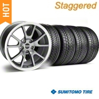 Staggered Anthracite FR500 Wheel & Sumitomo Tire Kit - 17x9/10.5 (99-04) - AmericanMuscle Wheels KIT||28090||28091||63000||63003