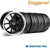 Staggered FR500 Style Black Wheel & Sumitomo Tire Kit - 17x9/10.5 (99-04) - American Muscle Wheels 28092||28093||63000||63003||KIT