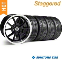 Staggered Black FR500 Wheel & Sumitomo Tire Kit - 17x9/10.5 (99-04) - AmericanMuscle Wheels KIT||28092||28093||63000||63003